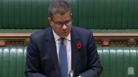 Rt Hon Alok Sharma MP speaking at the Dispatch Box in the House of Commons